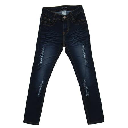 Girls' Stretch 5 Pockets Basic Premium Ripped Skinny - Blues Basic 5 Pocket Jeans
