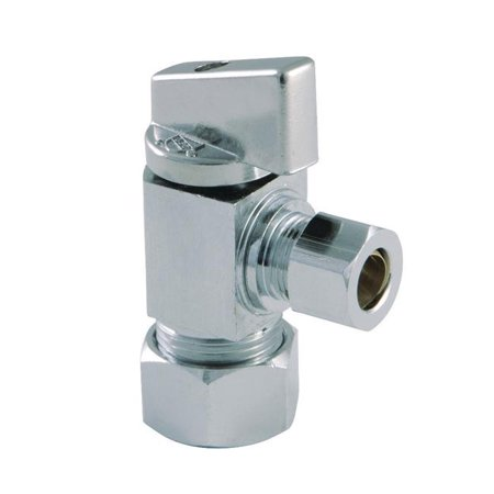 Kingston Brass KF53301CTL Columbia 0.62 O.D x 0.37 in. O.D. Compression 0.25 in. Turn Angle Stop Valve, Polished Chrome