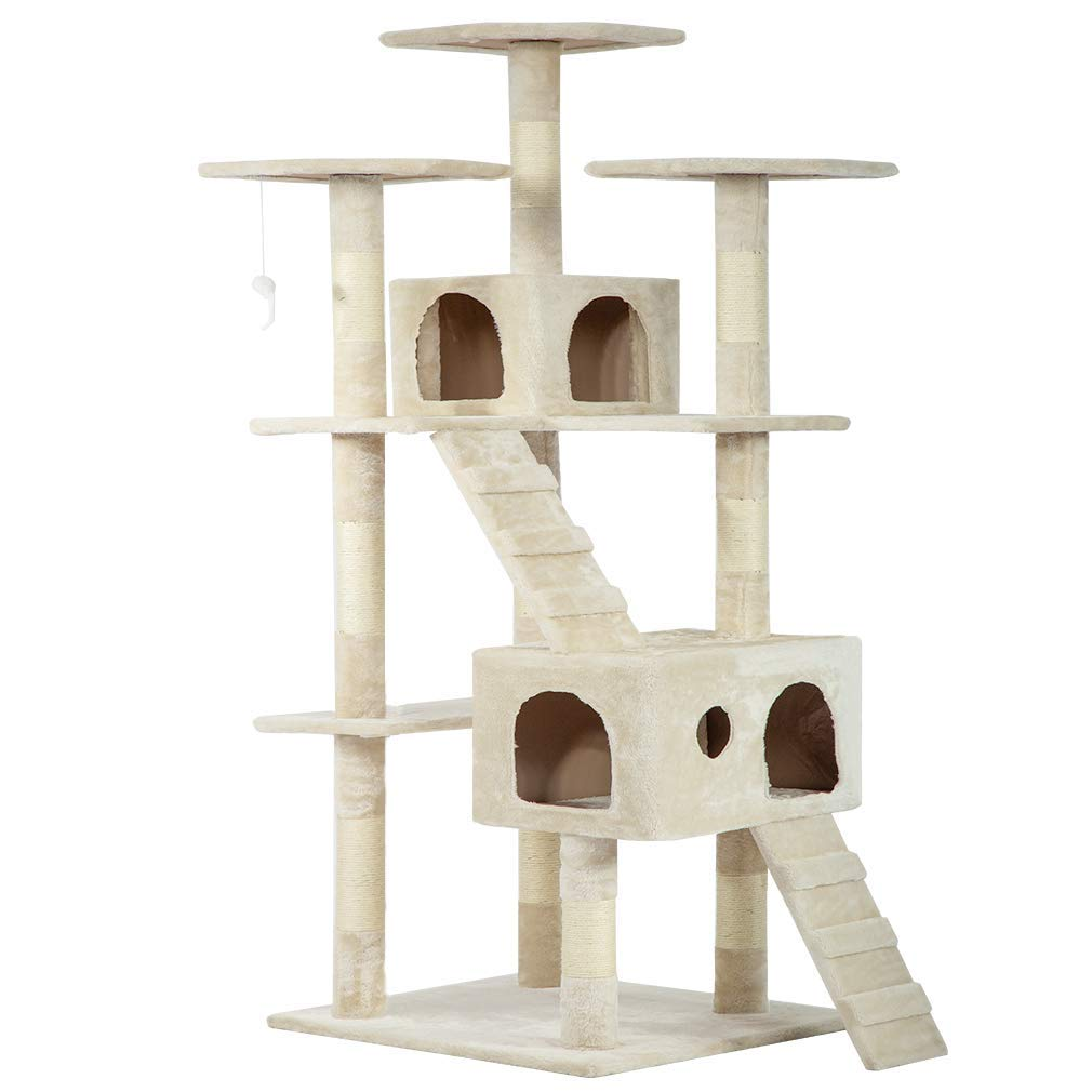 """Cat Tree Condo Tower Scratcher Post Play House Kitten Condo Furniture Bed Post Pet House 73"""" For Large Cats Beige"""