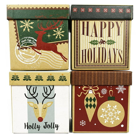 Set Of 4 Elegant Decorative Craft Holiday Themed Gift Boxes 4 X4 4 5 4 Styles Boxes Beautifully Themed And Decorated Perfect For Gifts Or