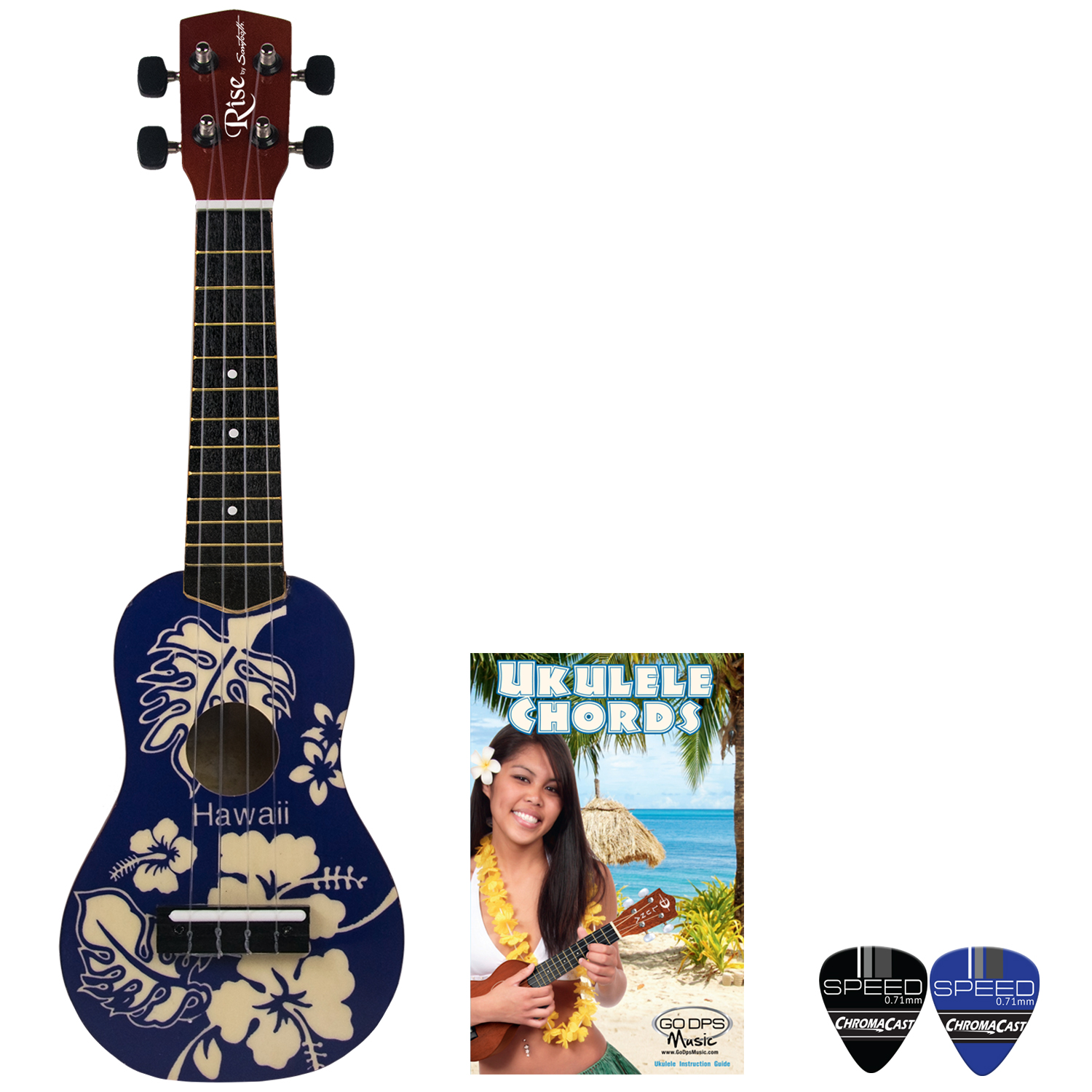 Rise by Sawtooth Beginner's Ukulele with Picks, Blue Hawaii