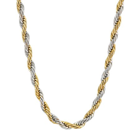 BIG Jewelry Co Two-Tone Stainless Steel Men's Rope Chain Necklace, (Jewelry Bib)