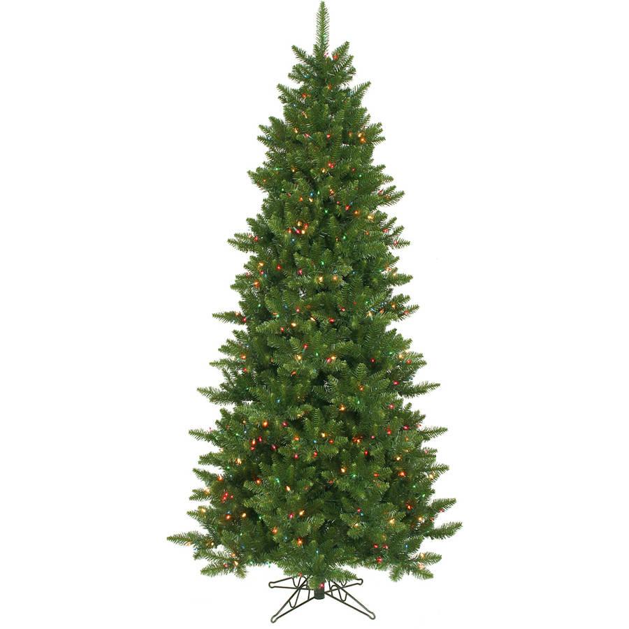 Vickerman Pre-Lit 8.5' Camdon Slim Artificial Christmas Tree, Dural-Lit, Multicolor Lights