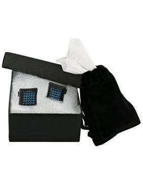 Men's Black Stainless Steel Stud Earrings with Blue Cubic Zirconia