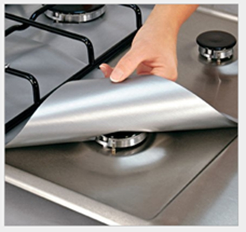 Kojooin New Kitchen 4PCS Reusable Aluminum Foil Gas Stove Burner Cover Protector