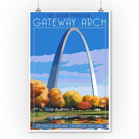 St. Louis, Missouri - Gateway Arch in Fall - Lantern Press Artwork (9x12 Art Print, Wall Decor Travel Poster) ()