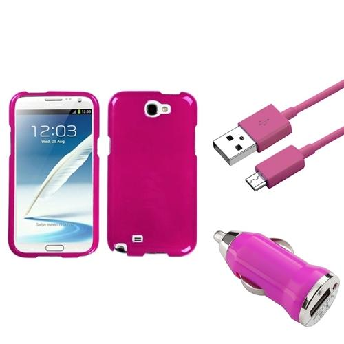 Insten Solid Hot Pink Hard Case 3FT USB Cord Car Charger For Samsung Galaxy Note 2 II