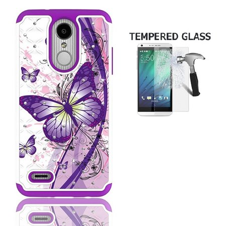 LG Aristo 3 Case, Phone Case for LG Aristo 3 Smartphone/LG Tribute Empire, Studded Rhinestone Crystal Bling Cover Case (White Purple Butterfly + Tempered Glass) (Phone Case For Lg 3)