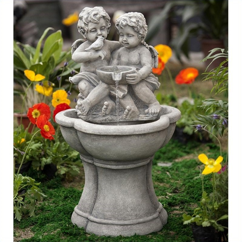 Jeco Cherub Water Fountain with LED Light