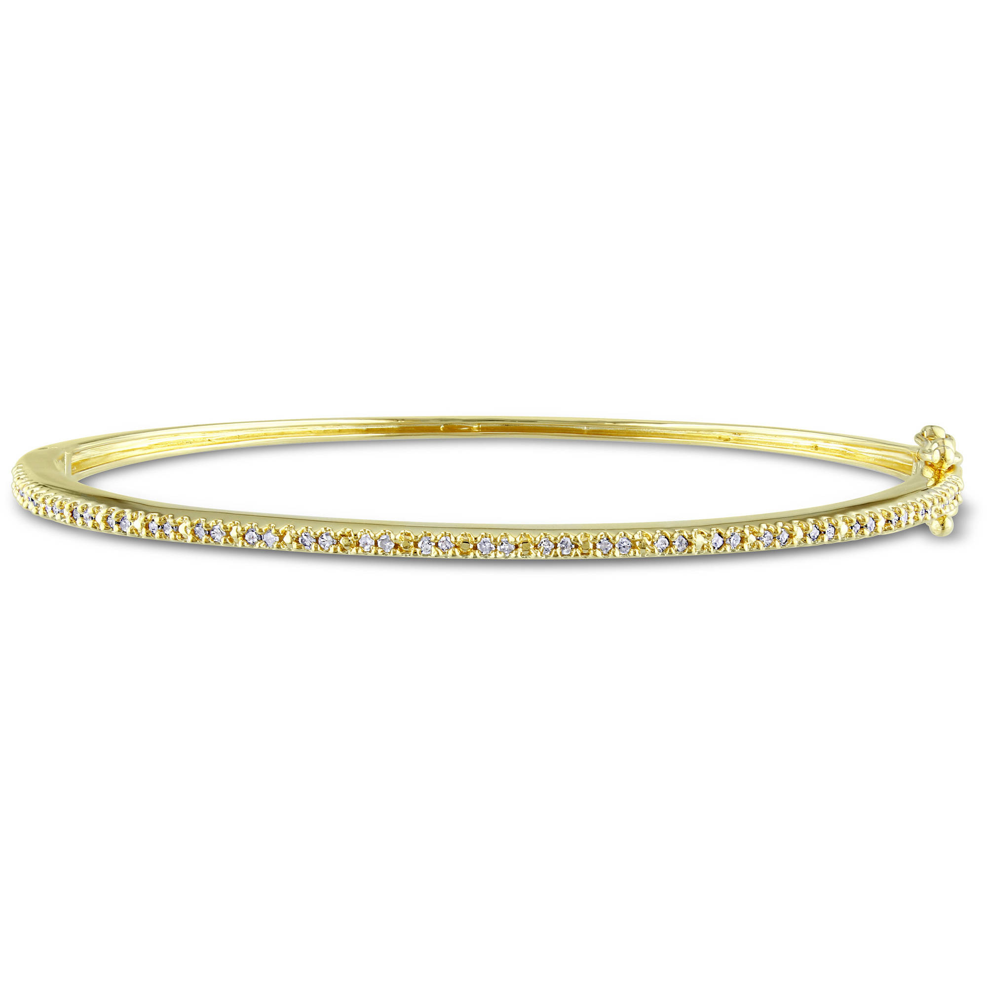 Miabella 1/4 Carat T.W. Diamond Yellow Rhodium-Plated Sterling Silver Bangle, 7""