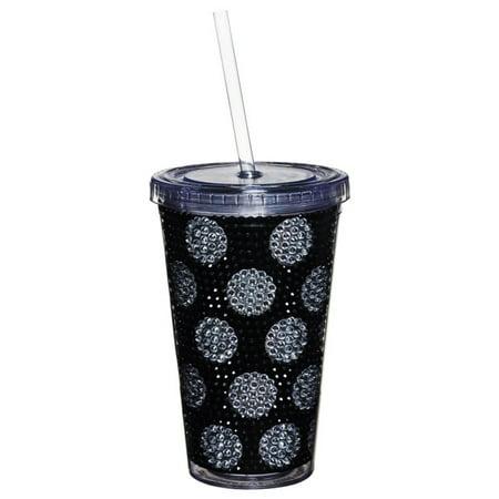 Black w/ Polka Dot Bling Holiday Pattern Insulated Cup w/ Straw & Twist Lid 17 oz (Twist Lid Cup)