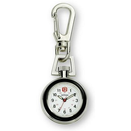 Gotham Unisex Silver-Tone Analog Quartz Keychain Clip Fob Watch # GWC18107-2 Quartz Silver Tone Pocket Watch