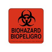 LabelMaster - Sign - biohazard - square - 4 in x 4 in - self-adhesive - paper - fluorescent red (pack of 500)