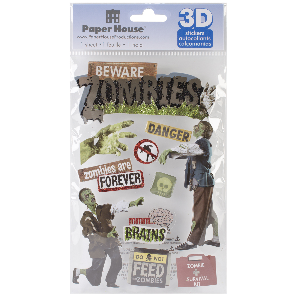 """Paper House 3D Stickers 4.5""""x8.5""""-Beware Zombies"""