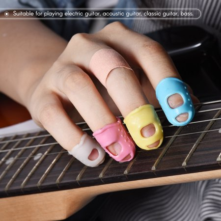 12pcs Guitar Fingertip Protectors Silicone Finger Guards for Ukulele Electric/Acoustic Guitar Bass 4 Colors(3 Size Large/Medium/Small for Each Color) - image 1 of 7