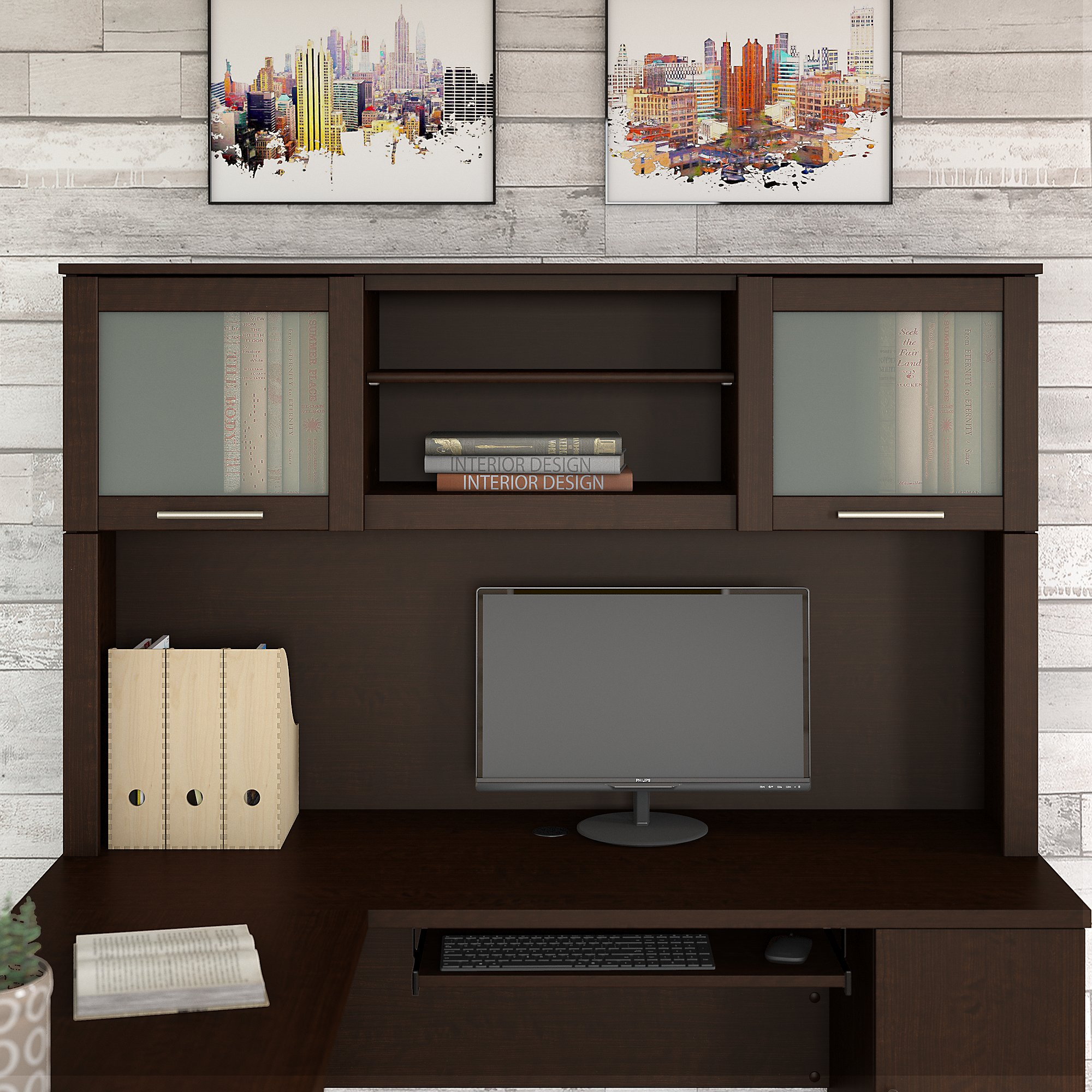 Bush Furniture Somerset 60W Hutch for L Shaped Desk in Mocha Cherry
