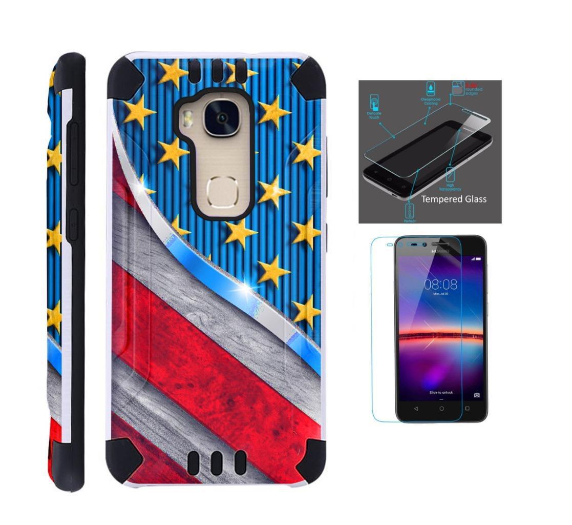 For Huawei Sensa 4G LTE Case + Tempered Glass Screen Protector / Slim Dual Layer Brushed Texture Armor Hybrid TPU KomBatGuard Phone Cover (US Flag Metallic Print)