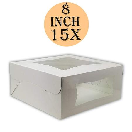 Window Treat Boxes (Cake Boxes 8 x 8 x 4, Bakery Box Has Double Window, Cake Supplies, 15)