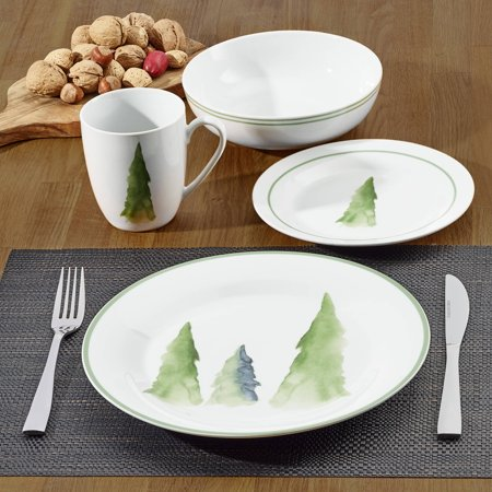Better Homes & Gardens Nature Collection Tree Dinnerware, Porcelain, Set of 16