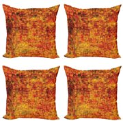 Burnt Orange Throw Pillow Cushion Case Pack of 4, Vintage Mosaic Background Quadratic Little Geometric Squares Faded Print, Modern Accent Double-Sided Print, 4 Sizes, Orange Mustard, by Ambesonne