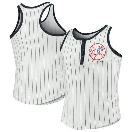 New York Yankees New Era Girls Youth Pinstripe Jersey Racerback Tank Top - White/Navy