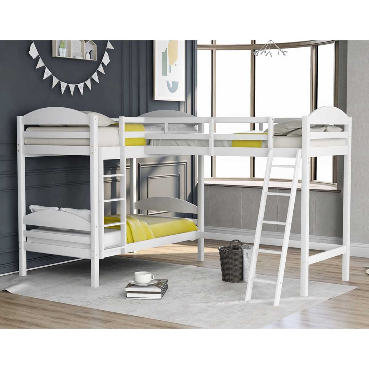 Picture of: Modernluxe L Shaped Twin Size Triple Bunk Bed Wooden Loft Bed Walmart Com Walmart Com