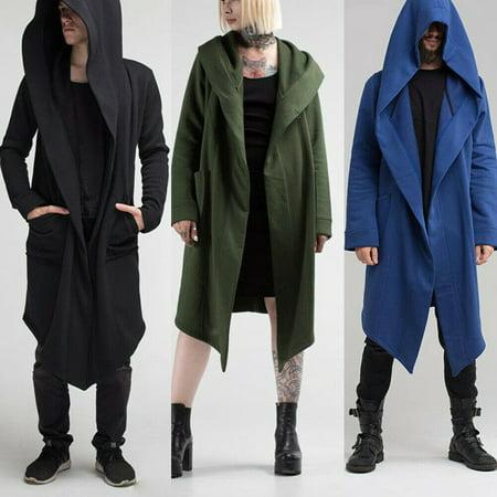 Women Men Outwear Hooded Coat Long Trench Jacket Warm Casual Cloak Cape ()