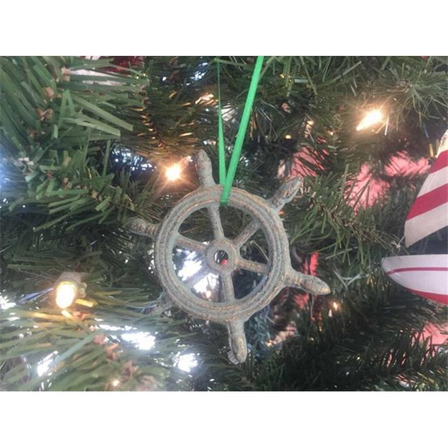 Handcrafted Model Ships K-1293-bronze-x 4 in. Antique Bronze Cast Iron Ship Wheel Decorative Christmas Ornament