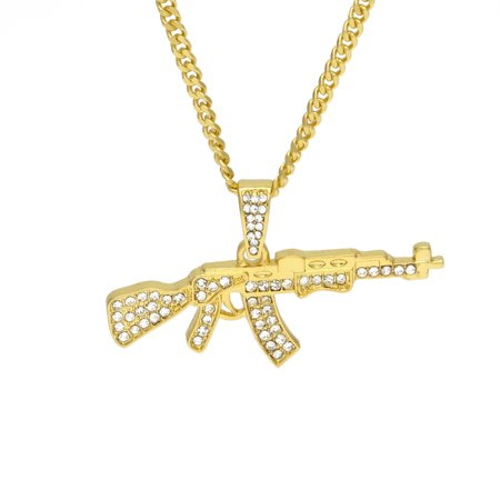 iLH Mallroom Alloy Pendant Necklace Iced Out Rhinestone With Hip Hop Miami Cuban Gold Chain