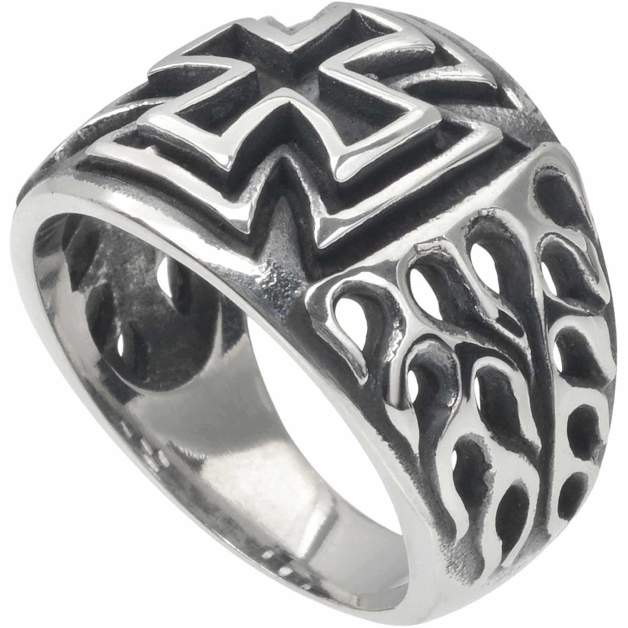 Daxx Men's Stainless Steel Iron Cross Flame Fashion Ring