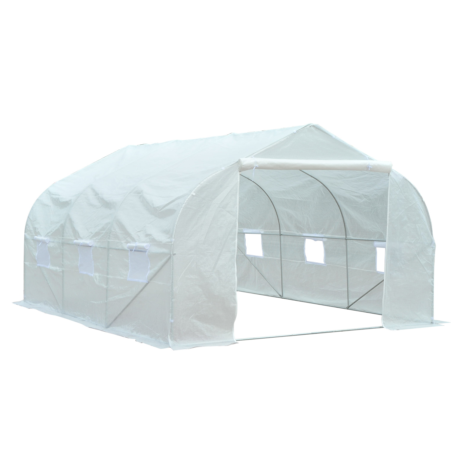 Outsunny 11 x 10 x 7 Portable Walk-In Garden Greenhouse White by Aosom