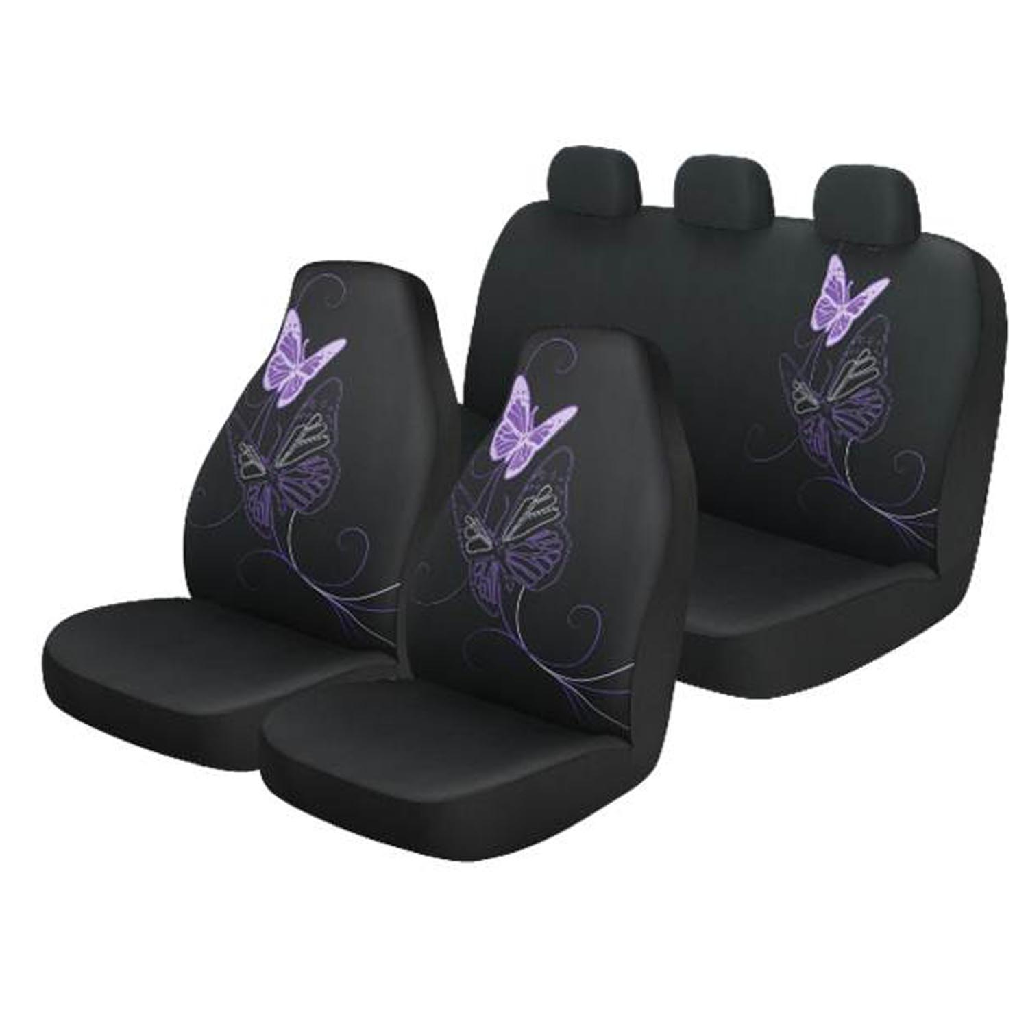 Auto Drive Black And Purple Butterfly 3 Piece Seat Cover