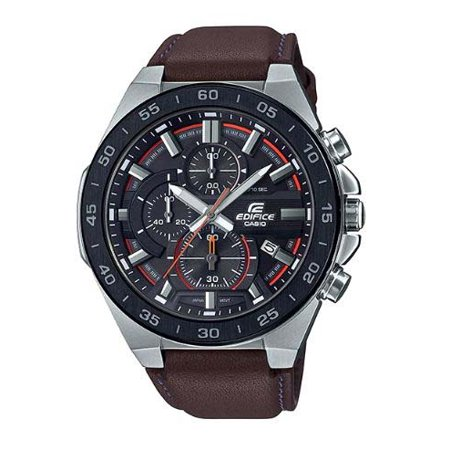 Casio Men's Edifice Stainless Steel Chronograph Brown Leather Watch