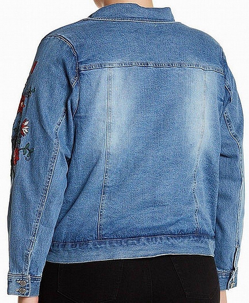 896ead2a069 Jolt - Jolt NEW Blue Women s Size 2X Plus Floral Embroidered Denim Jacket -  Walmart.com
