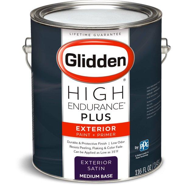 Glidden High Endurance Plus Exterior Paint And Primer Satin Finish Medium Base 1 Gallon Walmart Com Walmart Com