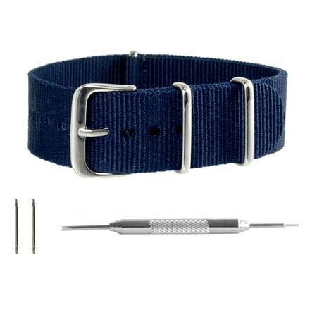 Navy Ballistic Nylon NATO Watchband + Spring Bar Tool (18, 20, 22 & 24mm) (15mm Nylon Watch Band)
