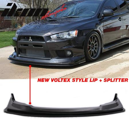 Fits 08-15 Mitsubishi Lancer Evolution X V Style Front Bumper Lip + Splitter