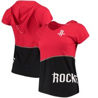 Houston Rockets Refried Tees Women's Hoodie V-Neck Top - Red/Black