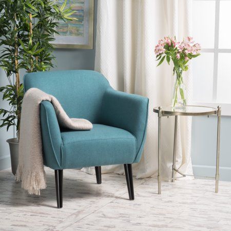 Noble house val mid century modern accent chair dark teal - Dark teal accent chair ...