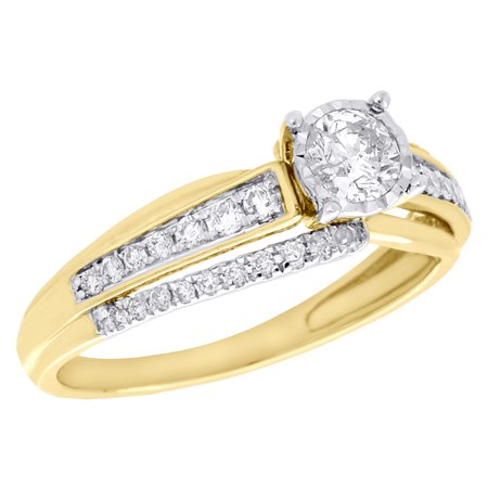 14K Yellow Gold Bezel Set Solitaire Diamond Bypass Ladies Engagement Ring 1/2 (Half Bezel Set Solitaire)