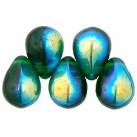 Green Tree Agate Beads - Czech Glass Beads 9mm Teardrop Emerald Green AB (50)