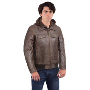 Black Rivet  Men's Brown Leather Hooded Bomber Jacket