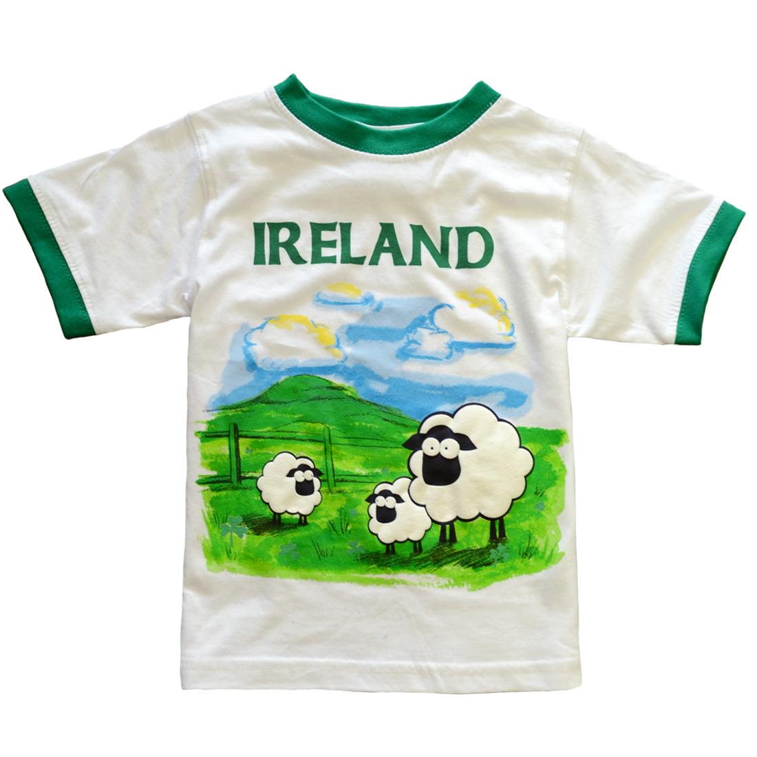 Traditional Craft Green Leprechaun and His Sheep Ireland Kids T-Shirt