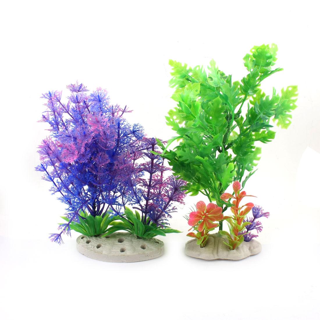 Unique Bargains 2 Pcs Blue Green Artificial Emulational Underwater Plant Decor for Fishbowl