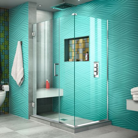 DreamLine Unidoor Plus 38 in W x 34 3 8 in D x 72 in H Frameless Hinged Shower Enclosure in Chrome