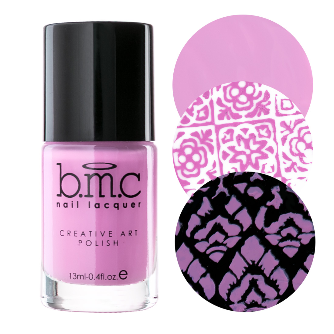 BMC 3pc Perennials Cream Nail Stamping Polish Set - Spring Inspired Highly Pigmented Fingernail Art Lacquer for DIY Manicures & Pedicures - Assorted Packs : Dusty Pink, Salmon Pink, Dark Purple