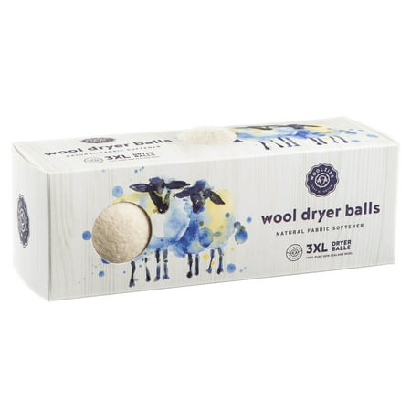 Wool dryer balls set of 3, natural fabric