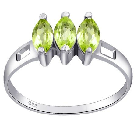 (0.75 Carat Genuine Peridot Marquise Cut 3 Stone Sterling Silver Ring For Women by Orchid Jewelry)