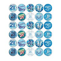 21st Birthday Boy Blue  Edible Frosting  Image Cupcake Toppers