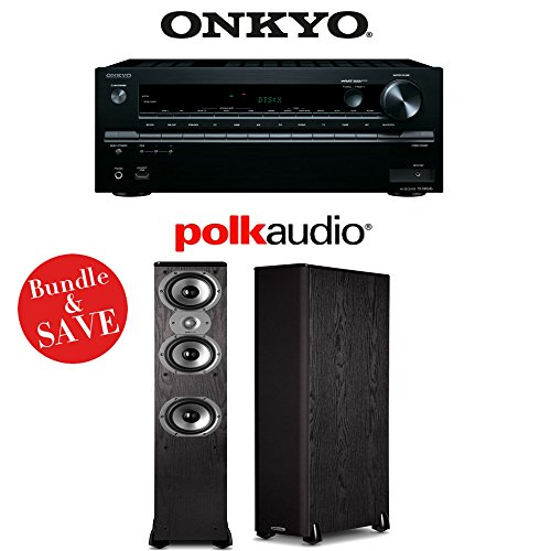 Onkyo TX-NR646 7.2-Channel Network A V Home Theater Receiver + (1) Pair of Polk Audio TSi 400 3-Way Floorstanding by Onkyo